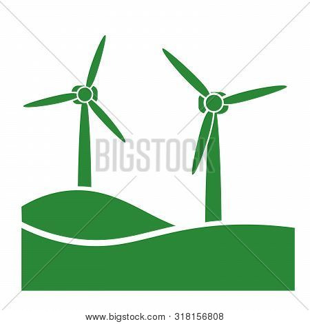 Wind Turbine, Green Eco Friendly Power Generation Icon Vector Illustration