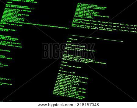 Computer Command Line Interface (CLI). Green code in command line interface on black background poster