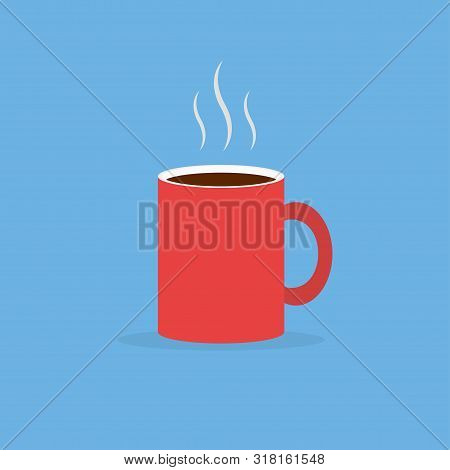Red Coffee Mug With Steam In Flat Design Style. Coffee Dring In Red Mug. Eps 10