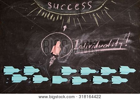 Business Idea, Individuality And Creativity. Success And Motivation. The Leader Of The Marked Indivi