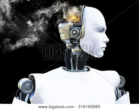 3d Rendering Of A Male Robot With Smoke Coming From His Head Like He Is Broken Or He Is Having A Men