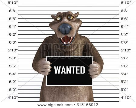 3d Rendering Of A Charming Happy Smiling Cartoon Bear Holding A Wanted Sign While Getting His Mug Sh