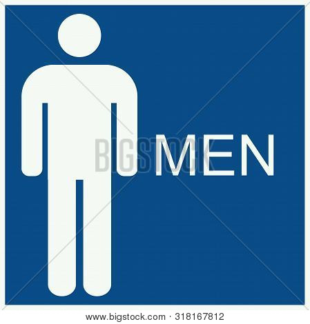 Men's Bathroom Sign Icon Vector On Blue Background
