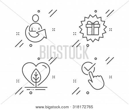 Local Grown, Share And Surprise Gift Line Icons Set. Checkbox Sign. Organic Tested, Referral Person,