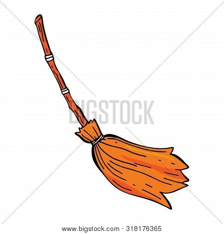 Witch's Broom. Vector Illustration Of An Isolated Object On A White Background.old Broom Of Witch In