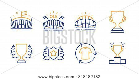 Laureate, Award Cup And Arena Stadium Line Icons Set. Change Clothes, Winner And Sports Arena Signs.