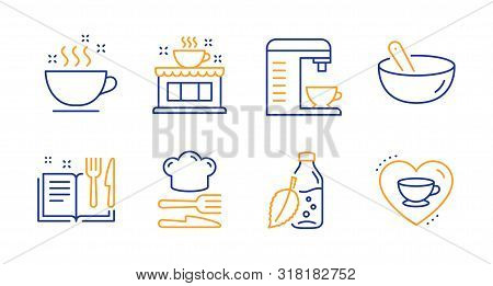 Recipe Book, Cooking Mix And Water Bottle Line Icons Set. Coffee Cup, Coffee Shop And Food Signs. Fo
