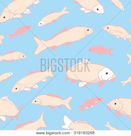 Wavy Sealife Goldfish Koi Seamless Pattern. With Carp Fish In Tones Of Pink And Rose Color. Modern,