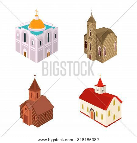 Vector Illustration Of Architecture And Building Symbol. Set Of Architecture And Clergy Stock Symbol