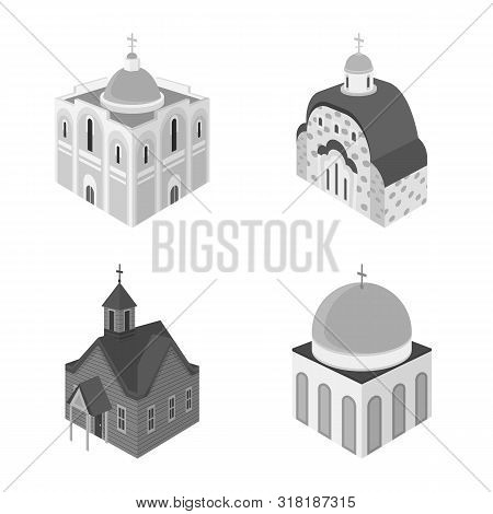 Vector Illustration Of Landmark And Clergy Sign. Set Of Landmark And Religion Vector Icon For Stock.