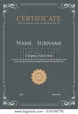 Certificate Flourishes Elegant Vintage Vector Design Template