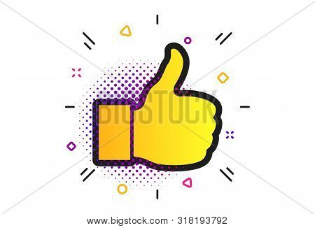 Like Sign Icon. Halftone Dots Pattern. Thumb Up Sign. Hand Finger Up Symbol. Classic Flat Like Icon.