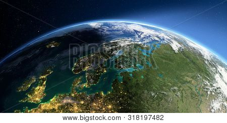 Highly Detailed Earth With Atmosphere, Exaggerated Relief And Light-flooded Cities. Transition From