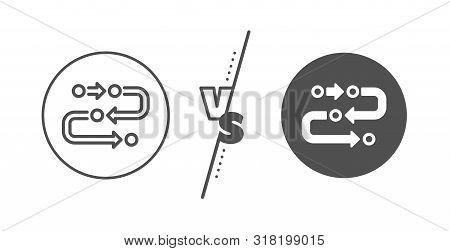Development Process Sign. Versus Concept. Methodology Line Icon. Strategy Symbol. Line Vs Classic Me
