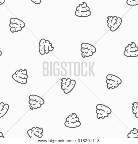 Seamless Pattern Of Poops - Excrement Backgrouns In Simple Style