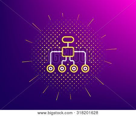 Restructuring Line Icon. Halftone Pattern. Business Architecture Sign. Delegate Symbol. Gradient Bac