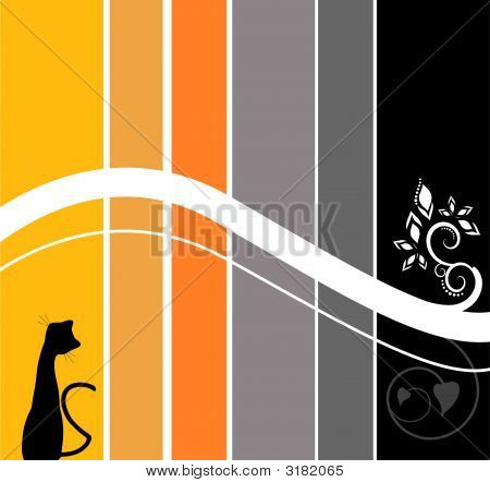 Stripes Wallpaper Beautiful Design with Cat Silhouette poster