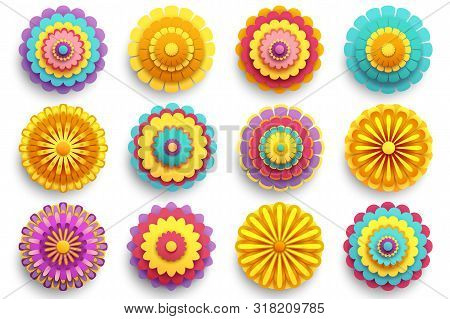 Set Of Beautiful Modern 3d Flowers Isolated On White Background. Collection Of Stylized Colorful Chr