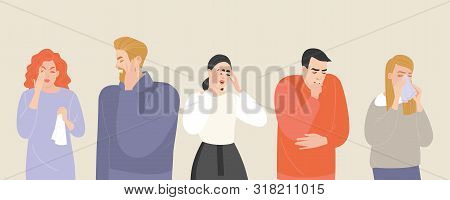 Set Of Vector Illustrations Of People Suffering From Various Symptoms Of The Common Cold And Flu. Ch