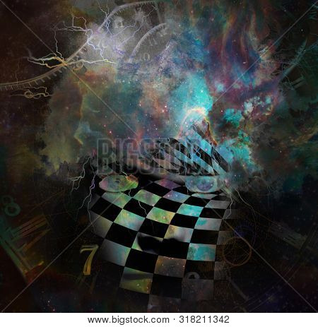 Surrealism. Woman's face with checkered pattern in vivid universe. Spirals of time. 3D Rendering