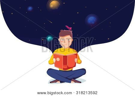 Back To School. Happy Cute Industrious Child Reading Book On Background Of Space. Concept Of Educati