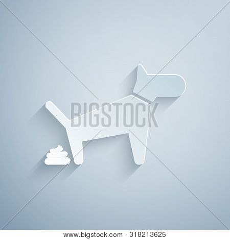 Paper Cut Dog Pooping Icon Isolated On Grey Background. Dog Goes To The Toilet. Dog Defecates. The C