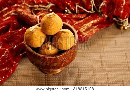 Traditional Indian Sweet - Round Balls Made Of Gram Flour