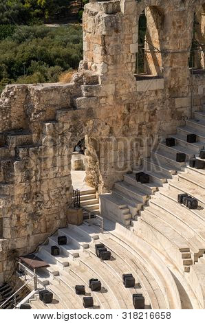 Detail Of Odeon Of Herodes Atticus. Theater Of Acropolis Of Athens.