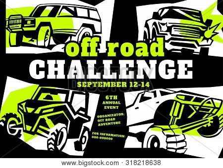 Motorsport Event Poster. Extreme Off-road Adventure. Truck Competition Flyer. Vertical Vector Illust