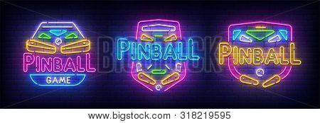 Pinball Neon Sign, Bright Signboard, Light Banner. Set Pinball Logo Neon, Emblem. Vector Illustratio