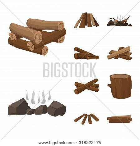 Isolated Object Of Timber And Nature Logo. Collection Of Timber And Construction Stock Vector Illust