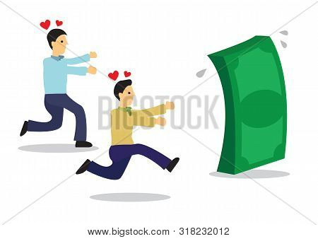 Funny businessmen chasing over dollars. Concept of brainless wealth chasing or greed. Flat isolated vector illustration. poster