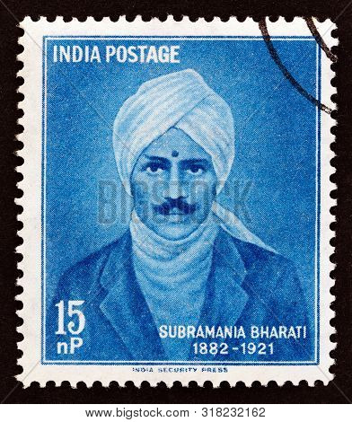 India - Circa 1960: A Stamp Printed In India Shows Tamil Writer Subramania Bharati (1882-1921), Circ
