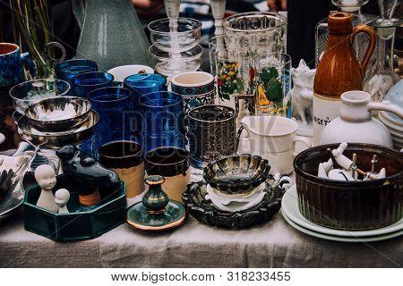 Flea Market. Vintage Stuff. Aesthetics. Fair Of Old Things. Sale Of Unnecessary Things. Garage Sale.
