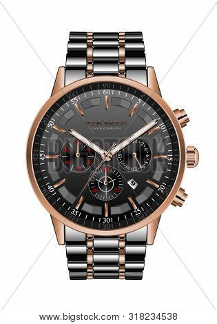 Realistic Clock Watch Chronograph Black Steel Copper Luxury For Men On White Vector Illustration.