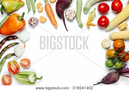 Creative Layout Made Of Vegetables. Healthy Eating Concept. Tomatoes, Onion, Carrot, Garlic, Red Bee