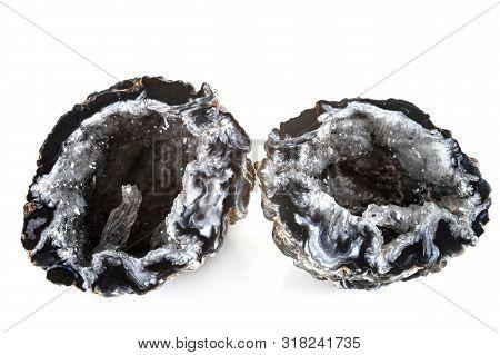 Quartz Geode In Front Of White Background