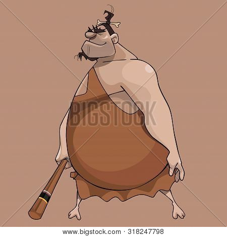 Cartoon Huge Fat Man In Neanderthal Clothes With Bat In His Hand
