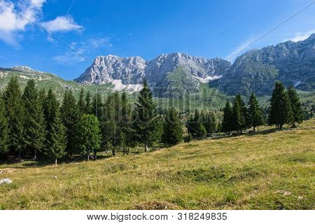 Mountain Panorama Of The Montasio Plateau, Italy