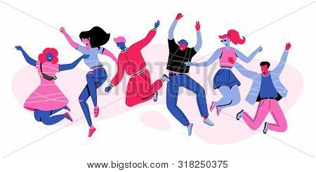 Six Happy People Characters Jumping In Air. Modern Faceless People Caracters In Vivid Color. Multiet