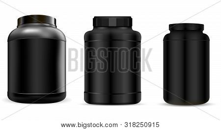 Protein Jar. Supplement Bottle Mockup. Plastic Nutrition Container For Energy Fitness Powder Isolate