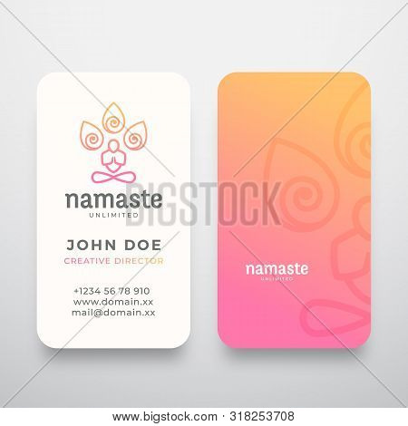Yoga Namaste Concept Logo And Business Card Template. Meditation Or Yoga Symbol. Meditating Person S