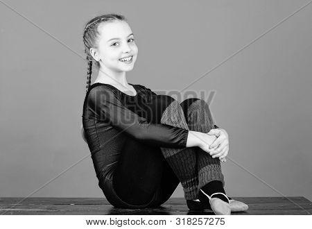 Minute To Relax. Rhythmic Gymnastics Sport Combines Elements Ballet Dance. Girl Little Gymnast Sport