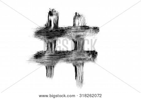 Hashtag Drawn With Black Mascara Brush, Smudges Texture. Creative Number Symbol Macro Isolated On Wh