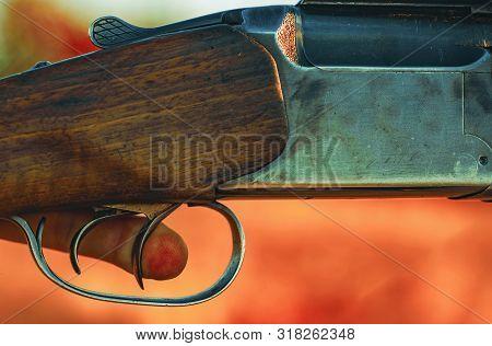 Pulled the trigger of the shotgun. Hunter with shotgun gun on hunt poster