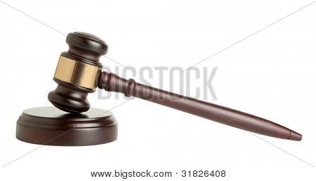 Wooden gavel on white background
