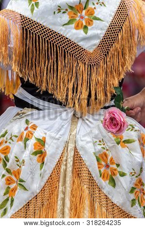 Detail Of Traditional German Folk Costume Worn By Women Of Ethnic German From Banat Area, Romania.