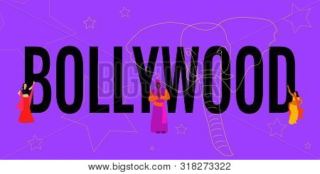 Black Text Bollywood On Bright Purple Background With Lemon Yellow Different Sized Stars And Elephan
