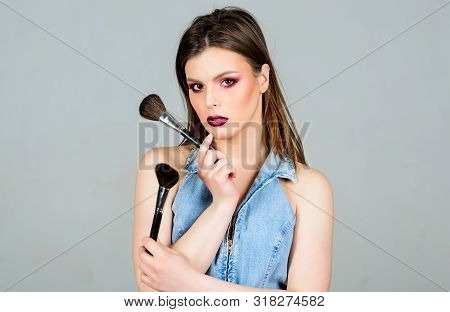 Girl Apply Eye Shadows. Looking Good And Feeling Confident. Skin Care Cosmetics. Attractive Woman Ap