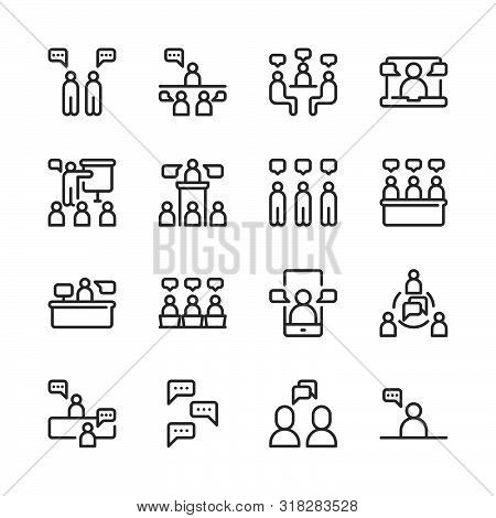 Business And People With Speech Bubble Icon Set.vector Illustration